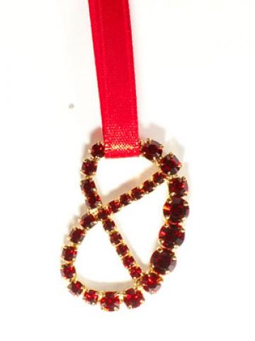 Large Pretzel Necklace  Swarovski Brezel-rot  Octoberfest / Oktoberfest