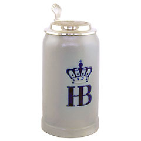 Hofbrauhaus German Beer Mug - Beerstein with Tin lid  - .25 Liter