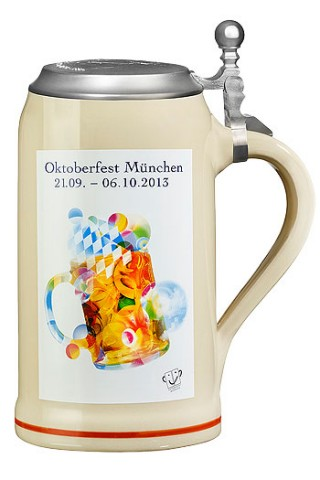 The Official Munich Oktoberfest 2013 Beerstein with Tin Lid 1 Liter