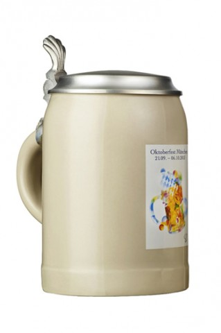 The Official Munich Oktoberfest 2013 Beerstein with Tin Lid 0.5 Liter