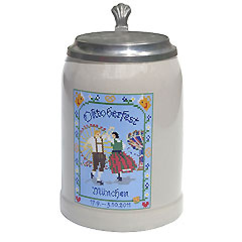 The Official Munich Oktoberfest 2011 Beerstein with Tin lid  - 0,5 Liter