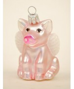 Mouth Blown Glass Ornament 'Pink Pig'