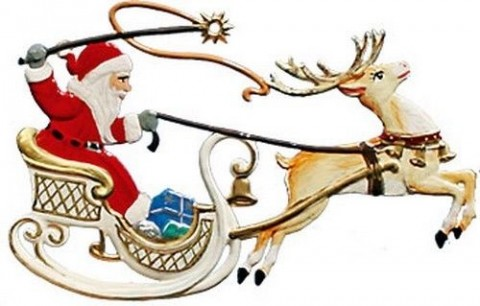Santa and Sleigh Christmas Pewter Wilhelm Schweizer - TEMPORARILY OUT OF STOCK