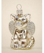 TEMPORARILY OUT OF STOCK <BR><BR> Mouth Blown Glass Ornament 'Silver Pig'
