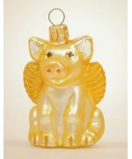 TEMPORARILY OUT OF STOCK <BR><BR>  Mouth Blown Glass Ornament 'Yellow Pig'
