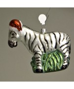 Mouth Blown Glass Ornament 'Zebra'